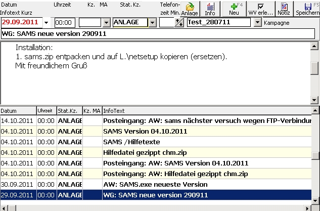 sam-s Anzeige Infotexte CRM mit beliebig langen Notizen Dokumenten